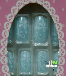 ناخن مصنوعی چسبی طرح گل آبی فیروزه ای
